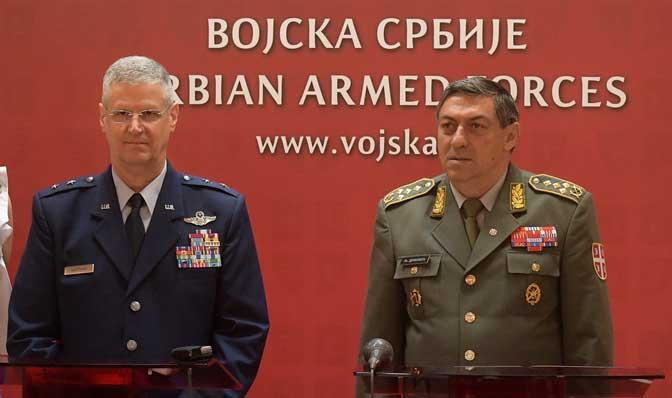 Komandant general-major Nacionalne Garde Ohaja (USA) Mark Bartman i načelnik Generalštaba Vojske Srbije general Ljubiša Diković,